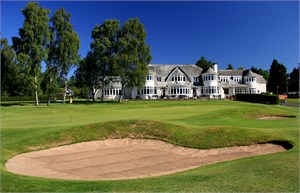 Blairgowrie Rosemount 18th and clubhouse Golf Perthshire