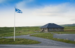 Golf House Exterior w Scottish Flag